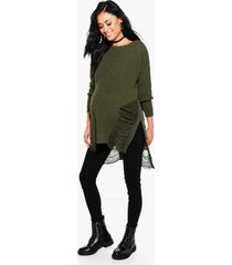 maternity distressed side split sweater, khaki