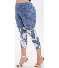 plus size high waist printed capri leggings