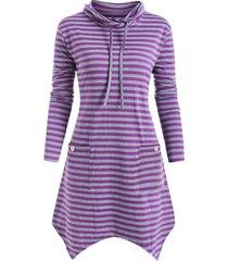 cowl neck striped plus size asymmetrical tunic top