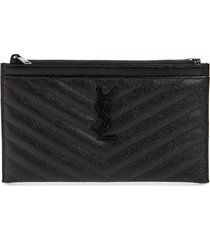 saint laurent monogramme quilted calfskin zip pouch - black