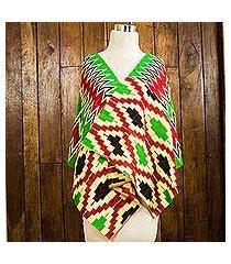 cotton blend kente shawl, 'akan blessing' (4 strips) (ghana)