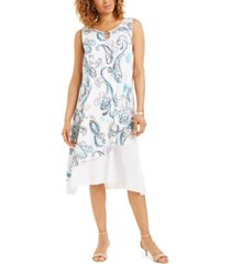 jm collection pauna asymmetrical printed dress, created for macy's