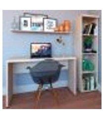 conjunto de mesa com estante e prateleira de escritório corp geneve