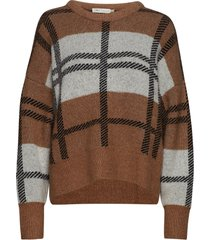 ivanaiw check pullover stickad tröja brun inwear