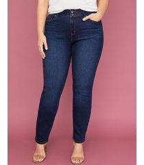 lane bryant women's tighter tummy essential stretch straight jean - dark wash 12 x short dark denim