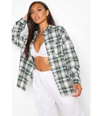 petite geruite oversized blouse, donkergroen