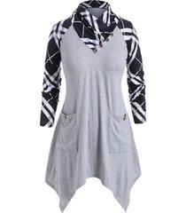 cowl neck plus size plaid print t-shirt