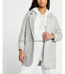 river island womens petite grey relaxed patch pocket blazer