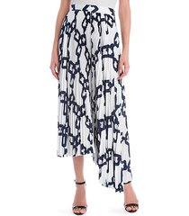 chain print pleated maxi skirt