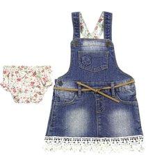 conjunto vestido jardinera fiori azul ficcus