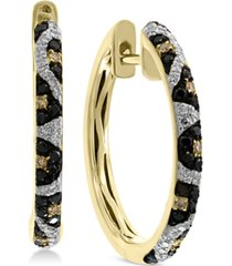 effy multi-color diamond animal print hoop earrings (3/8 ct. t.w.) in 14k gold