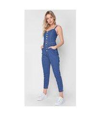 macacão jeans zune jogger botões azul