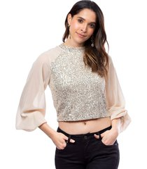 blusa beige para mujer con lentejuelas manga larga en chifón