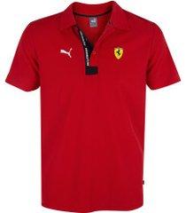 camisa polo puma scuderia ferrari 596150 - masculina - vermelho