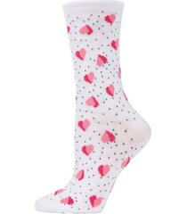 women's floating hearts bamboo crew socks