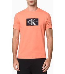 camiseta mc regular logo meia rolo gc - laranja - gg