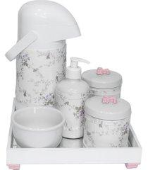 kit higiene espelho completo porcelanas, garrafa e capa flor de liz rosa quarto bebê menina