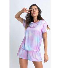 conjunto de pijama acuo curto de manga curta com elástico doce nuvem feminino