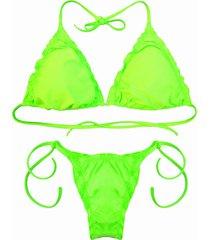 biquãni cortininha divance verde neon calcinha ripple verde - verde - feminino - poliamida - dafiti