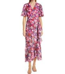 women's tanya taylor blaire floral flutter sleeve dress, size 2 - pink