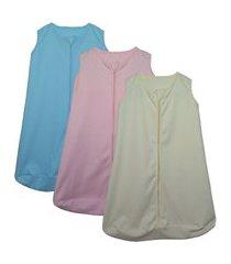 kit 3 saco de dormir bebê amarelo, azul e rosa enxoval pijama algodão
