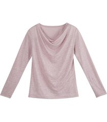 shirt met watervalhals, roze 38