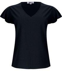 blusa unicolor cuello v color negro, talla l