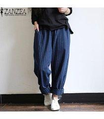 zanzea mujeres de cintura alta pantalones a rayas de algodón suelta más el tamaño de los pantalones -azul