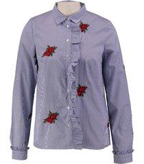 guess blauw wit gestreepte blouse met borduringen