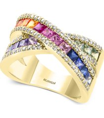 effy multi-sapphire (2-1/3 ct. t.w.) & diamond (3/8 ct. t.w.) ring in 14k gold