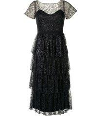 marchesa notte tiered glitter cocktail dress - black