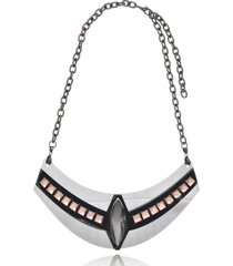 maxi colar le diamond geométrico arabesco prata - tricae