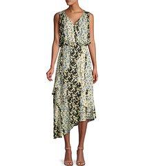 pippin floral asymmetrical midi dress
