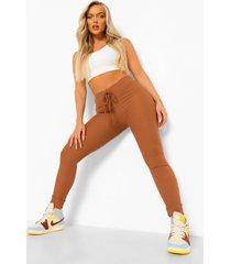 leggings met strik en geribbelde zoom, chocolate
