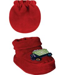 conjunto luva e sapatinho ursinho plush - vermelho - menino - dafiti