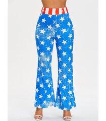 elastic waist star print pants