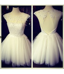 sexy backless beads white lace&tulle appliques homecoming dress/bridal dress
