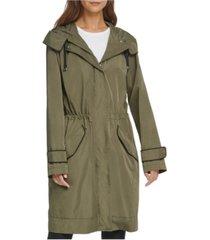 dkny camo-lined anorak rain coat