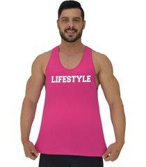 regata cavada masculina alto camuflagem lifestyle estilo de vida rosa choque - rosa - masculino - algodã£o - dafiti
