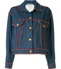 chanel pre-owned braided trim denim jacket - blue