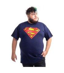 camiseta plus size superman logo clássico azul