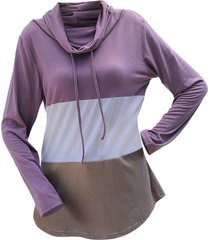 cowl neck color blocking long sleeve tunic tee