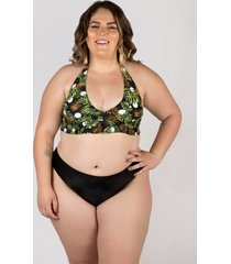 biquíni meeloo plus size hot pants e sutiã babado no cós estampa poá