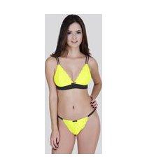 conjunto aidê lingerie neon sem bojo amarelo com preto