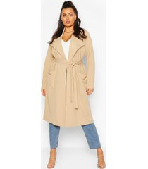 plus belted waterfall duster coat, stone