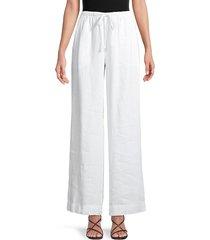 vince women's tie-front wide-leg pants - off white - size m
