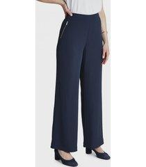 pantalon formal palazzo con bolsillos falsos con cierres azul lorenzo di pontti