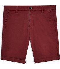 mens red burgundy chino stretch skinny shorts