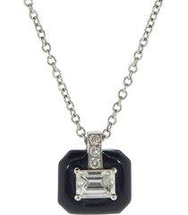 oui emerald cut diamond pendant necklace