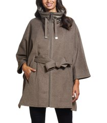 women's ellen tracy quilted collar wool blend cape, size small - grey